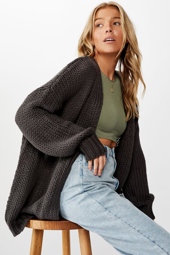Oversized Greta Cardigan, GRANITE GREY