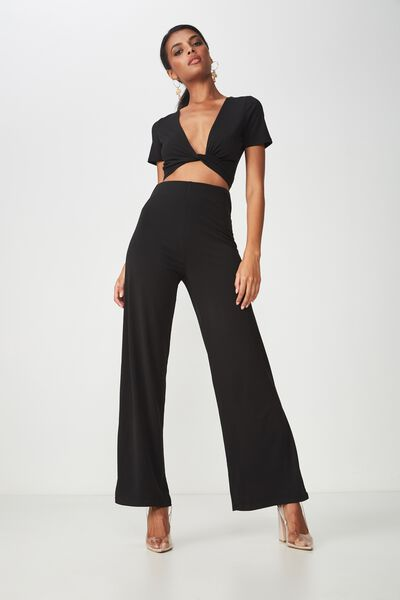Party Set High Waist Wide Leg Pant, BLACK