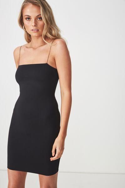 Party Elastic Strap Dress, BLACK