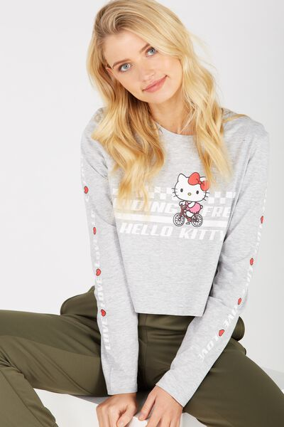 Hello Kitty Printed Long Sleeve Crop, GREY MARLE/HELLO KITTY