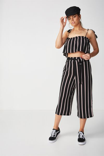 Crop Tie Waist Pant, BLACK RUST STRIPE