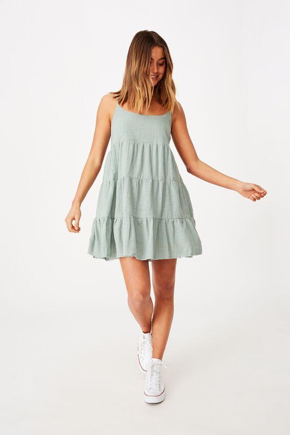 Mila Strappy Tiered Dress, PALE JADE