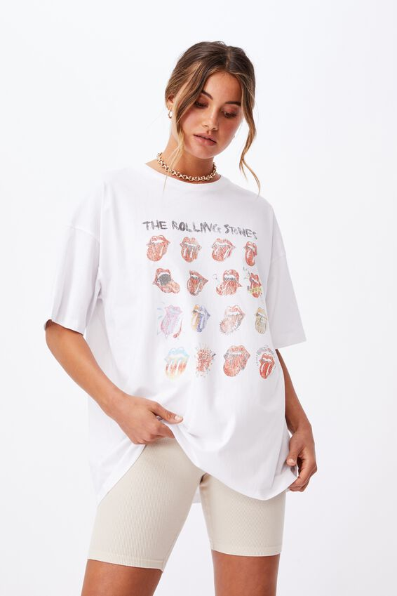 Oversized Rolling Stones T Shirt, WHITE/LCN BRA ROLLING STONES TONGUE EVOLUTION
