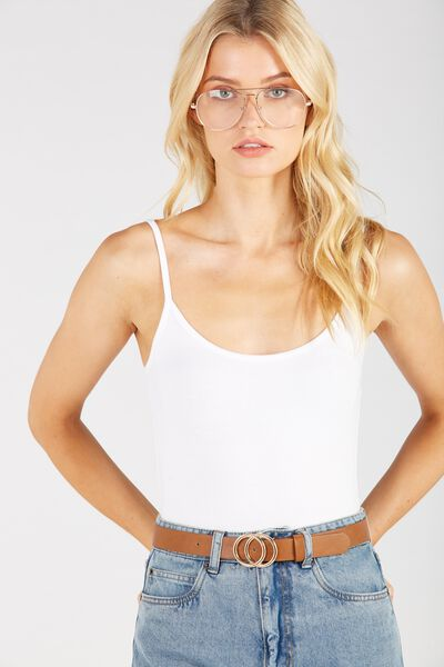 Basic Thin Strap Cami, WHITE
