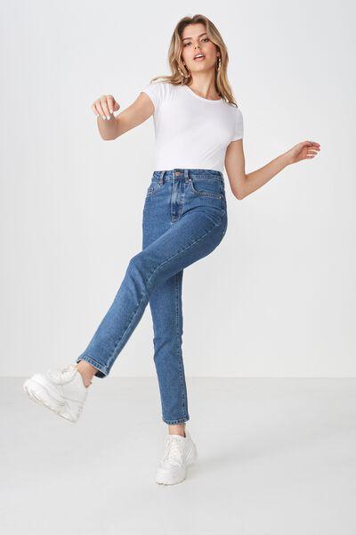 Straight Denim Jean, MID BLUE WASH