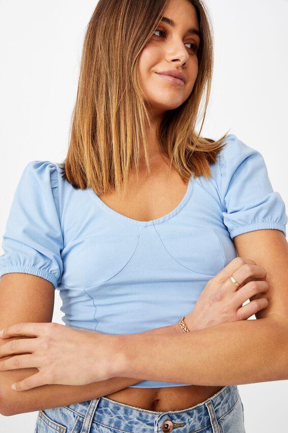 Elle Puff Sleeve Top, CAPRI BLUE