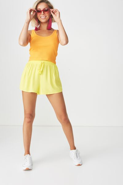 Melrose Tie Front Short, YELLOW