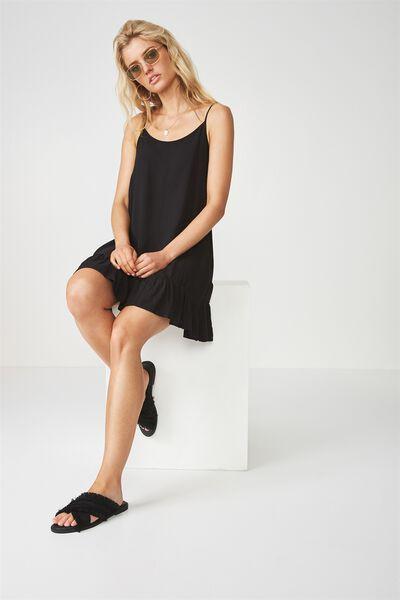 Relaxed Frill Hem Dress, BLACK