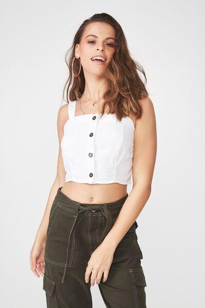 Button Through Linen Blend Crop Top, WHITE