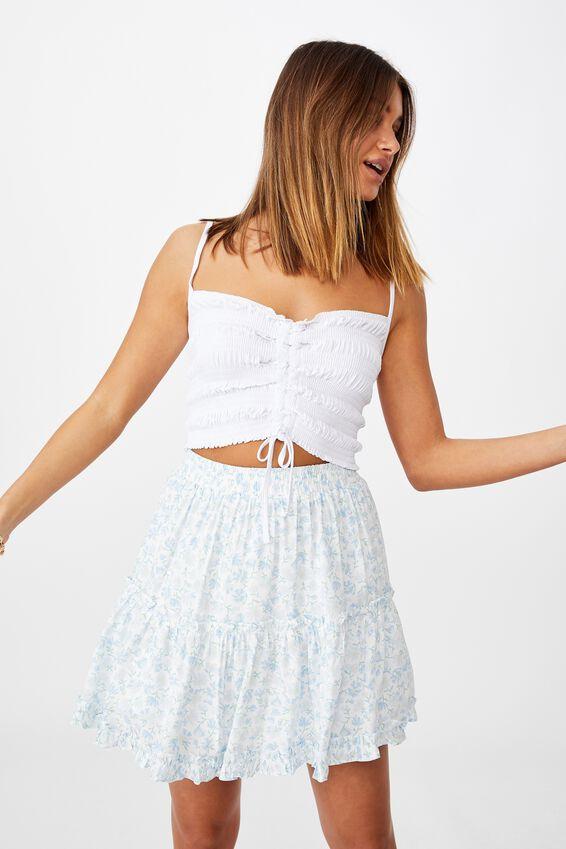 Maisie Tiered Skirt, HALLEY FLORAL WHITE/BLUE