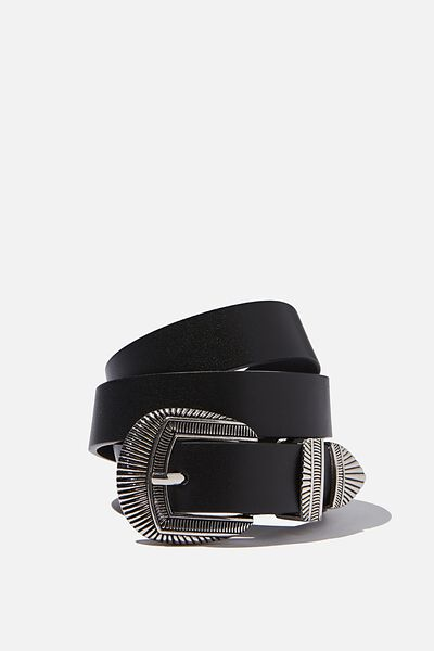 Linear Western Belt, BLACK/ANTIQUE SILVER