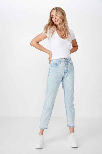 Mom Denim Jean, ICY BLUE NEW