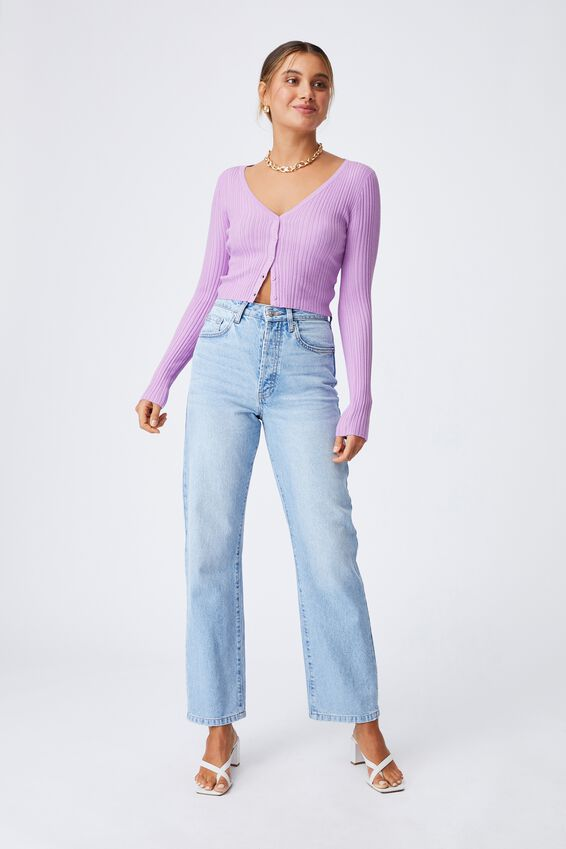 Olivia Button Through Long Sleeve Top, SWEET LILAC