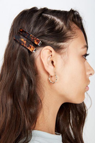 Hair Clips 2 X Pack, DARK TORT