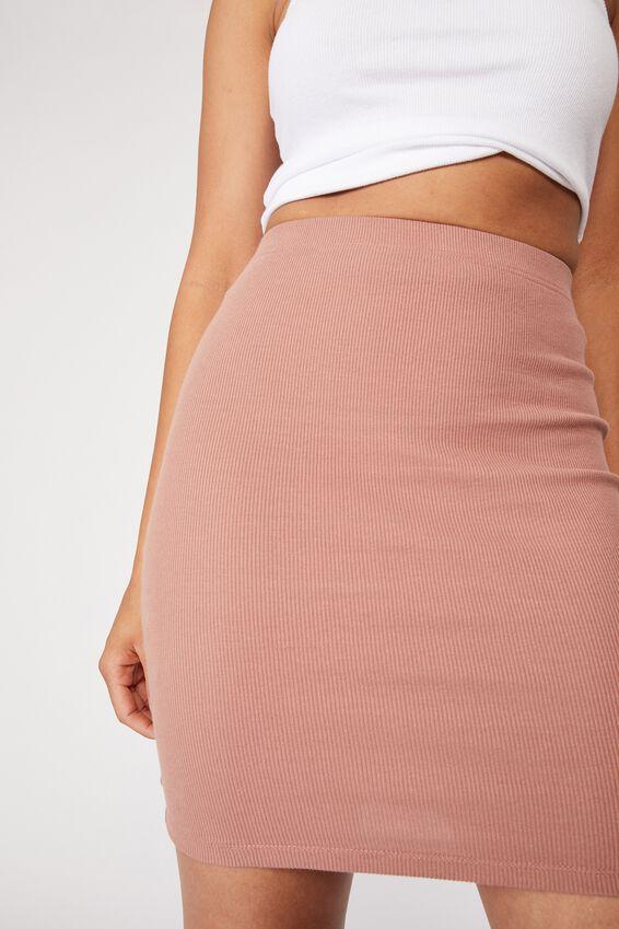 Kennedy Rib Mini Skirt, BLUSH BRONZE