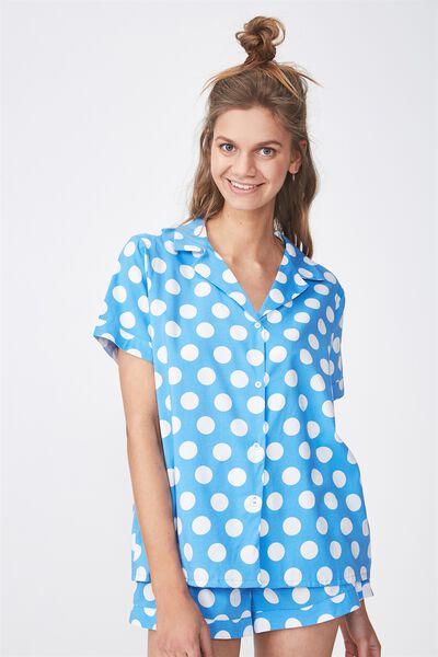 Cotton Sleep Shirt, BLUE/SPOT