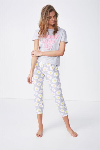 3/4 Printed Sleep Pant, GREY/EGGS