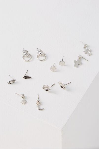 Paris Stud Earring Pack, SILVER