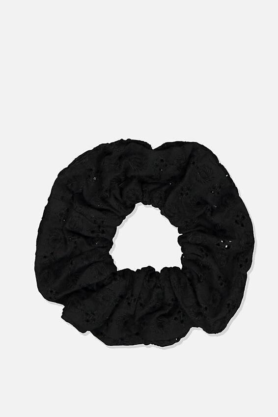 Cotton Broderie Scrunchie, BLACK