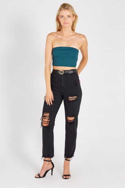 The Cool Mom Destroy Crop Denim Jean, WASHED BLACK
