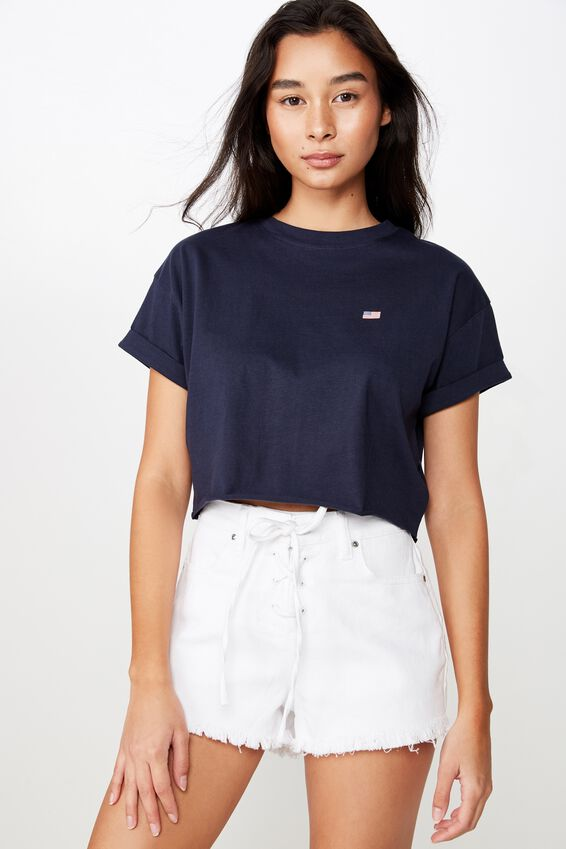 Tamara Graphic Crop Tee, MIDNIGHT NAVY/USA