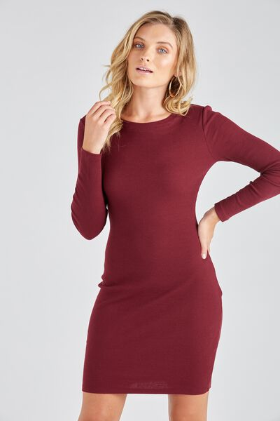 Longsleeve Rib Bodycon Dress, BURGUNDY