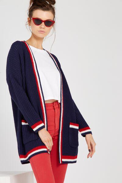 Baseball Longline Knit Cardigan, NAVY/STRIPE