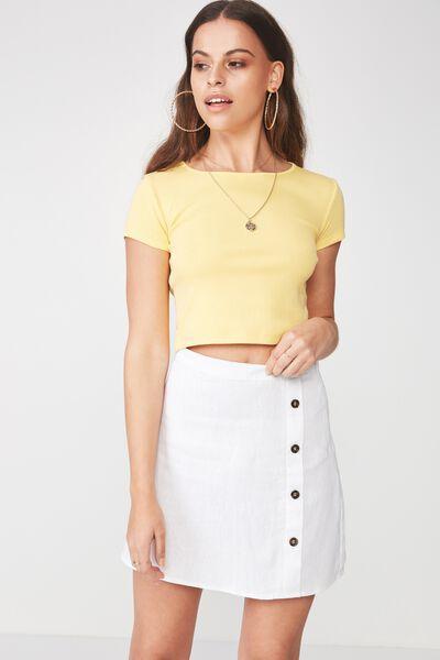 Lola Side Button Linen Blend Skirt, WHITE
