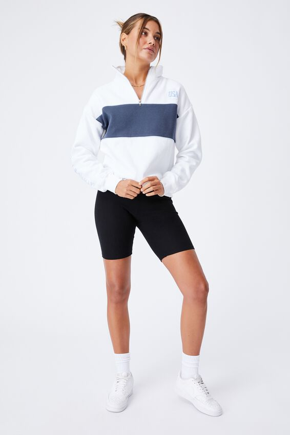 Hayden Quarter Zip Jumper, WHITE/MIAMI FLORIDA