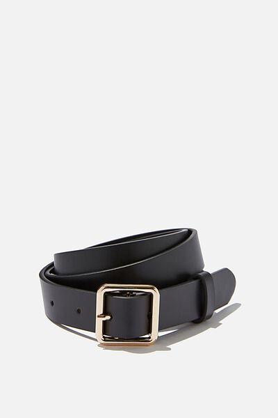 Madison Square Buckle Belt, BLACK/GOLD