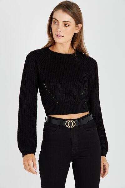 The Harper Knit Top, BLACK