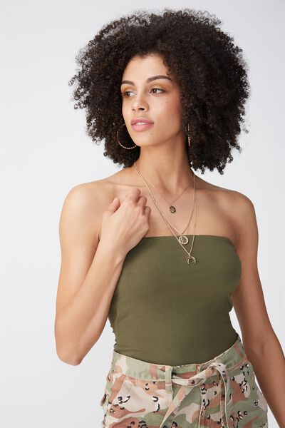 Basic Long Boobtube Built-In Bra, KHAKI