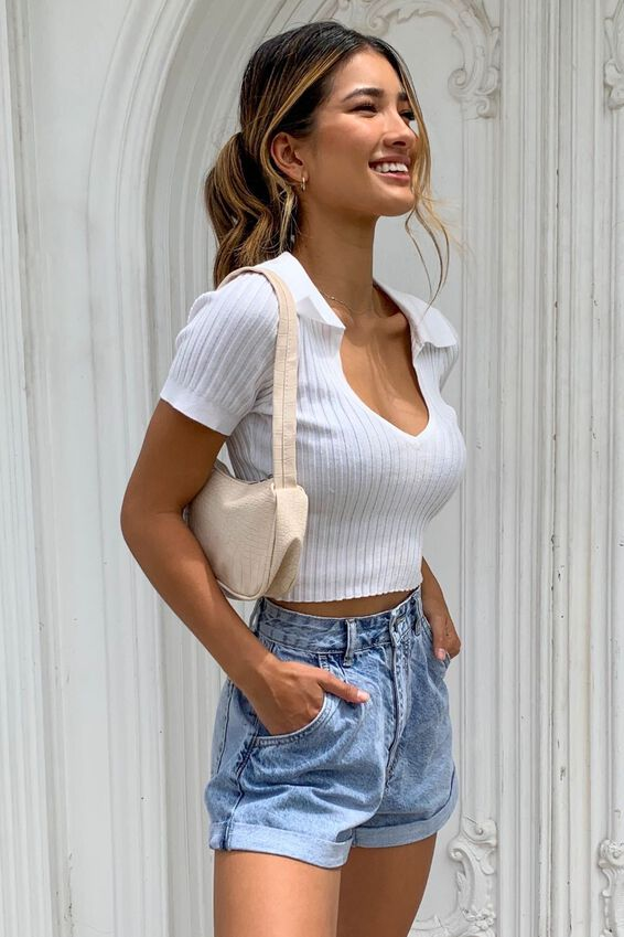 Harlow Polo Knit Top, WHITE