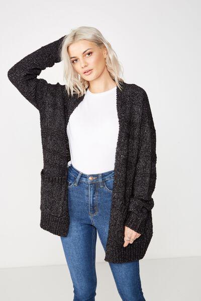 Lana Textured Knit Cardigan, BLACK