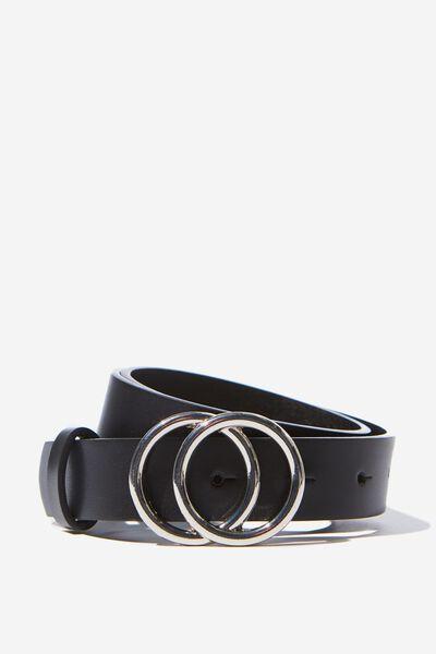 Double Gold Hoop Belt, BLACK/SILVER