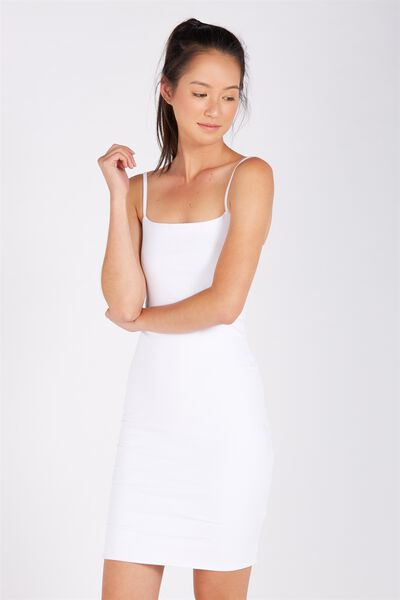 Basic Square Neck Cami Dress, WHITE