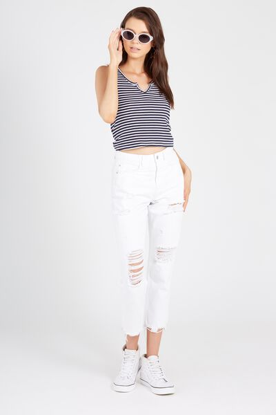 The Cool Mom Destroy Crop Denim Jean, WHITE