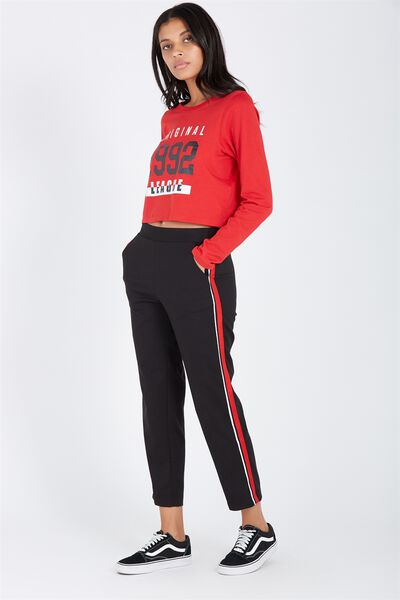 Tailored Crop Check Pant, BLACK/RED STRIPE