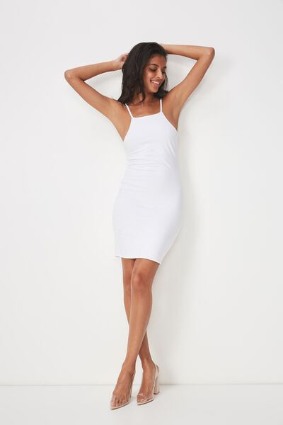 High Neck Strappy Mini Dress, WHITE