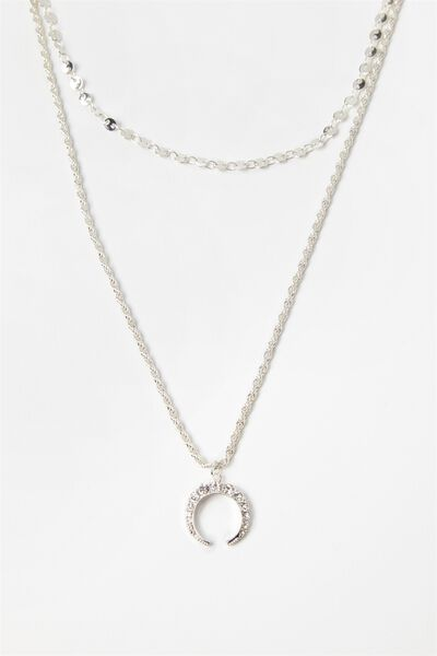 Half Moon Layered Necklace Set, SILVER