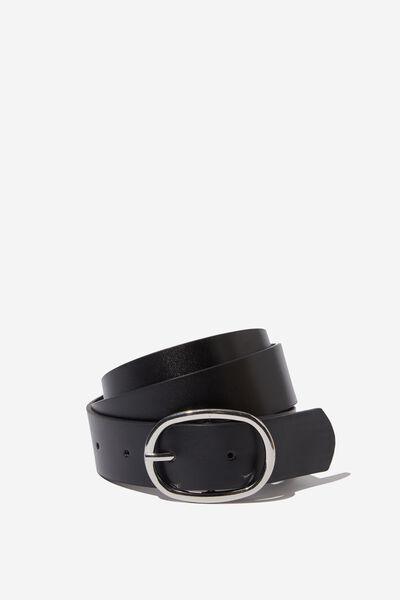 Molly Rounded Rectangle Buckle Belt, BLACK/SILVER