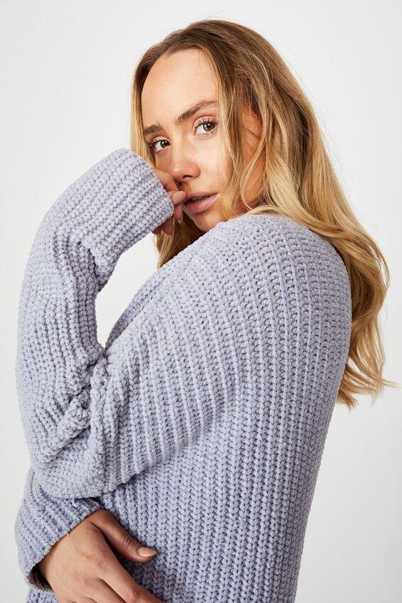 Chloe Chenille Cardigan, BLUE RIDER MARLE