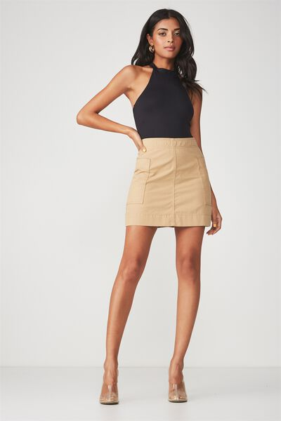 Side Pocket Mini Skirt, STONE