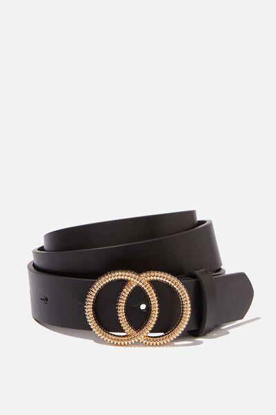 Ridged Texture Double Hoop Belt, BLACK/GOLD