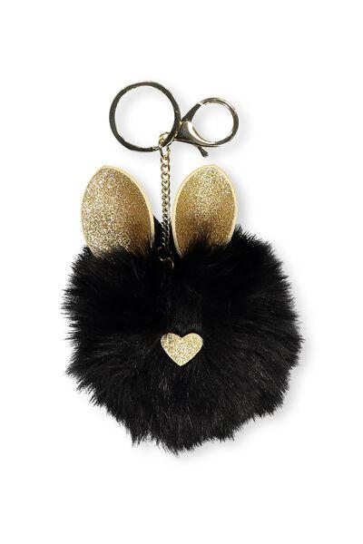 Faux Fur Glitter Ears Keyring, BLACK