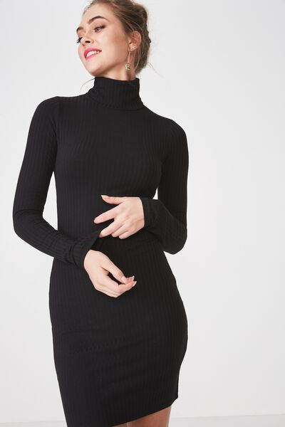 f1df6f4d5 Kylie Roll Neck Rib Dress