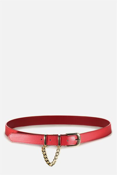 Loop Chain Belt, RED/GOLD