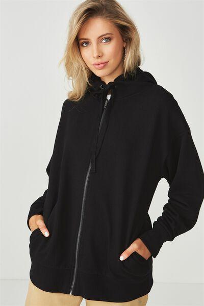 Oversized Zip Through Hooded Sweat, BLACK