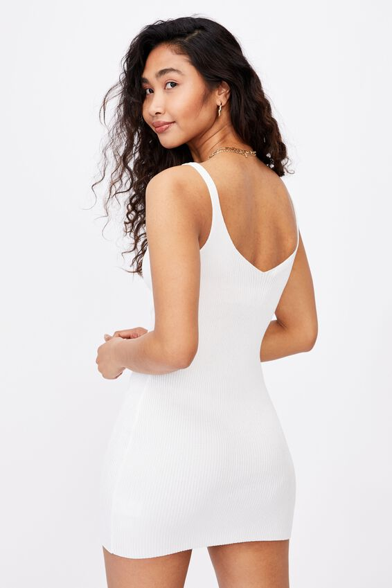 Felicity V-Neck Knit Dress, WHITE