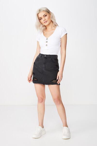 Winona Ultra Destroy Denim Skirt, WASHED BLACK